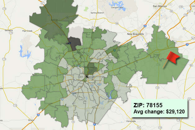 ZIP code: 78155 Data available from the Bexar Appraisal District shows how much the average residential value changed in each area ZIP code in 2015. Photo: Chris Eudaily Created Using Fusion Tables