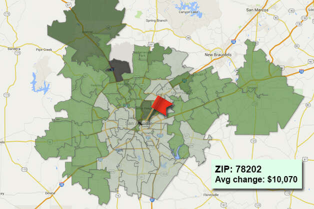ZIP code: 78202 Data available from the Bexar Appraisal District shows how much the average residential value changed in each area ZIP code in 2015. Photo: Chris Eudaily Created Using Fusion Tables