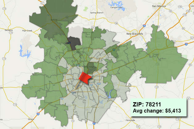 ZIP code: 78211 Data available from the Bexar Appraisal District shows how much the average residential value changed in each area ZIP code in 2015. Photo: Chris Eudaily Created Using Fusion Tables