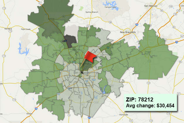 ZIP code: 78212 Data available from the Bexar Appraisal District shows how much the average residential value changed in each area ZIP code in 2015. Photo: Chris Eudaily Created Using Fusion Tables