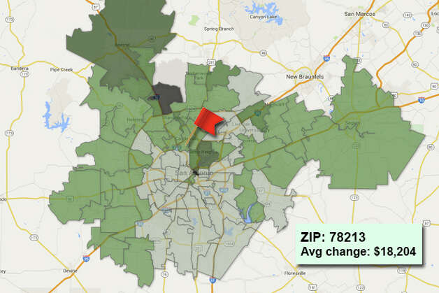 ZIP code: 78213 Data available from the Bexar Appraisal District shows how much the average residential value changed in each area ZIP code in 2015. Photo: Chris Eudaily Created Using Fusion Tables