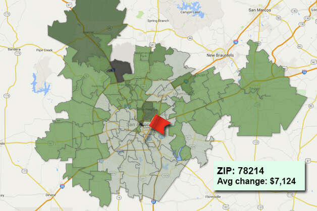 ZIP code: 78214 Data available from the Bexar Appraisal District shows how much the average residential value changed in each area ZIP code in 2015. Photo: Chris Eudaily Created Using Fusion Tables