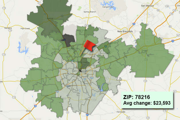 ZIP code: 78216 Data available from the Bexar Appraisal District shows how much the average residential value changed in each area ZIP code in 2015. Photo: Chris Eudaily Created Using Fusion Tables