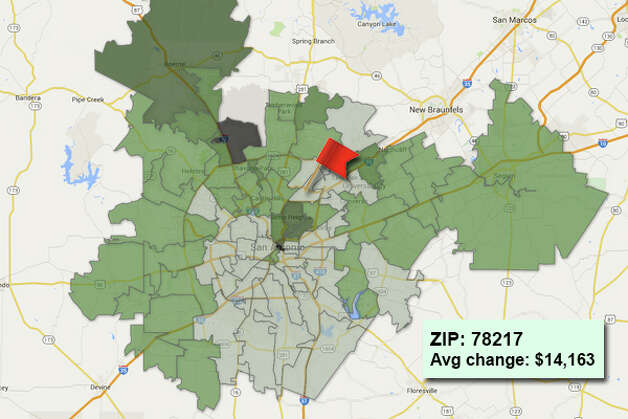 ZIP code: 78217 Data available from the Bexar Appraisal District shows how much the average residential value changed in each area ZIP code in 2015. Photo: Chris Eudaily Created Using Fusion Tables
