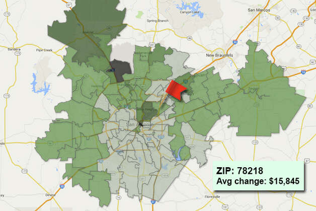 ZIP code: 78218 Data available from the Bexar Appraisal District shows how much the average residential value changed in each area ZIP code in 2015. Photo: Chris Eudaily Created Using Fusion Tables