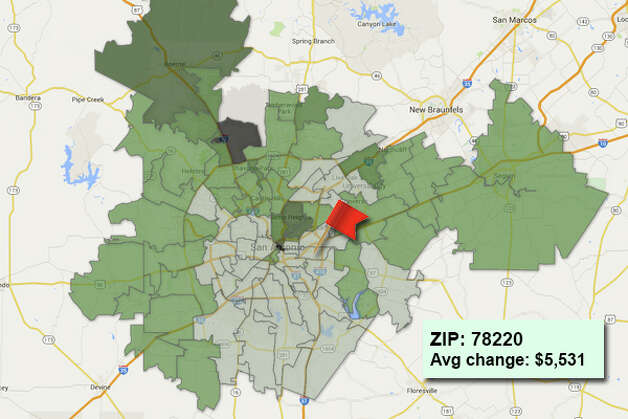 ZIP code: 78220 Data available from the Bexar Appraisal District shows how much the average residential value changed in each area ZIP code in 2015. Photo: Chris Eudaily Created Using Fusion Tables