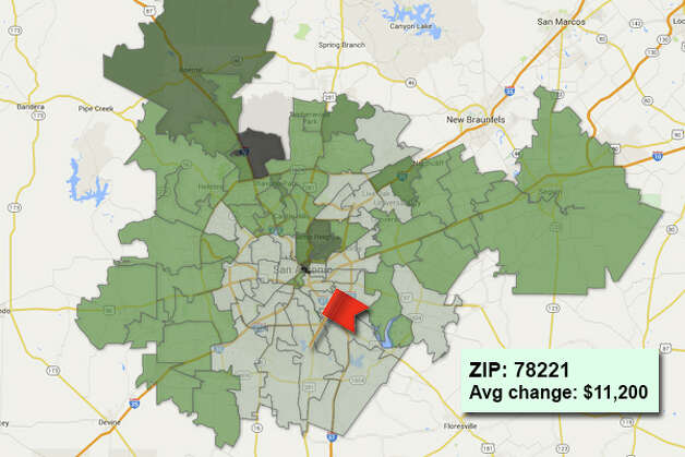 ZIP code: 78221 Data available from the Bexar Appraisal District shows how much the average residential value changed in each area ZIP code in 2015. Photo: Chris Eudaily Created Using Fusion Tables