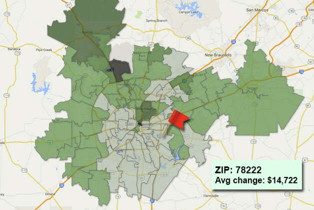 ZIP code: 78222 Data available from the Bexar Appraisal District shows how much the average residential value changed in each area ZIP code in 2015. Photo: Chris Eudaily Created Using Fusion Tables