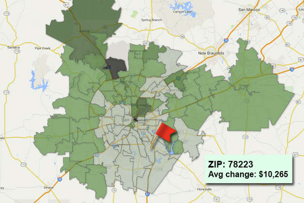ZIP code: 78223 Data available from the Bexar Appraisal District shows how much the average residential value changed in each area ZIP code in 2015. Photo: Chris Eudaily Created Using Fusion Tables