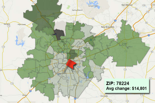 ZIP code: 78224 Data available from the Bexar Appraisal District shows how much the average residential value changed in each area ZIP code in 2015. Photo: Chris Eudaily Created Using Fusion Tables