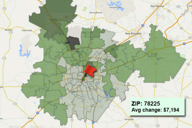 ZIP code: 78225 Data available from the Bexar Appraisal District shows how much the average residential value changed in each area ZIP code in 2015. Photo: Chris Eudaily Created Using Fusion Tables