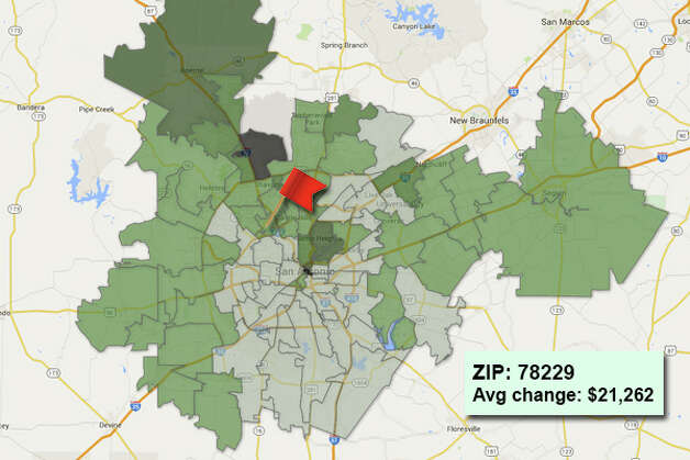 ZIP code: 78229 Data available from the Bexar Appraisal District shows how much the average residential value changed in each area ZIP code in 2015. Photo: Chris Eudaily Created Using Fusion Tables