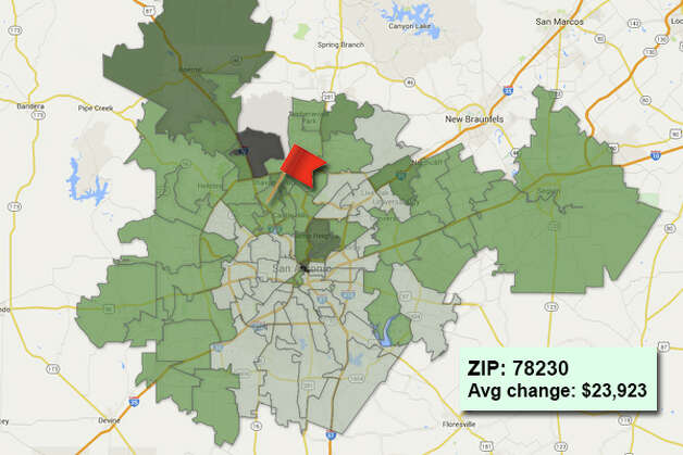 ZIP code: 78230 Data available from the Bexar Appraisal District shows how much the average residential value changed in each area ZIP code in 2015. Photo: Chris Eudaily Created Using Fusion Tables
