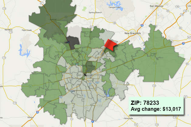 ZIP code: 78233 Data available from the Bexar Appraisal District shows how much the average residential value changed in each area ZIP code in 2015. Photo: Chris Eudaily Created Using Fusion Tables