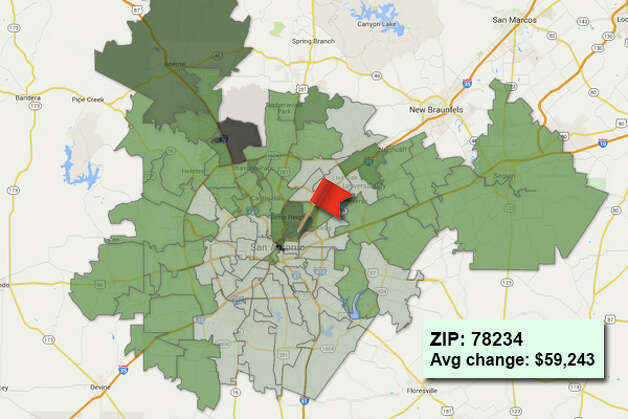 ZIP code: 78234 Data available from the Bexar Appraisal District shows how much the average residential value changed in each area ZIP code in 2015. Photo: Chris Eudaily Created Using Fusion Tables