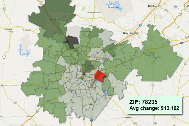 ZIP code: 78235 Data available from the Bexar Appraisal District shows how much the average residential value changed in each area ZIP code in 2015. Photo: Chris Eudaily Created Using Fusion Tables