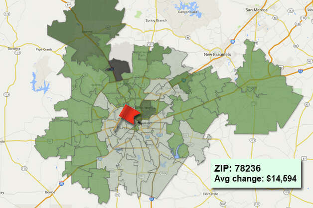 ZIP code: 78236 Data available from the Bexar Appraisal District shows how much the average residential value changed in each area ZIP code in 2015. Photo: Chris Eudaily Created Using Fusion Tables