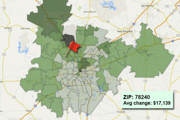 ZIP code: 78240Data available from the Bexar Appraisal District shows how much the average residential value changed in each area ZIP code in 2015. Photo: Chris Eudaily Created Using Fusion Tables