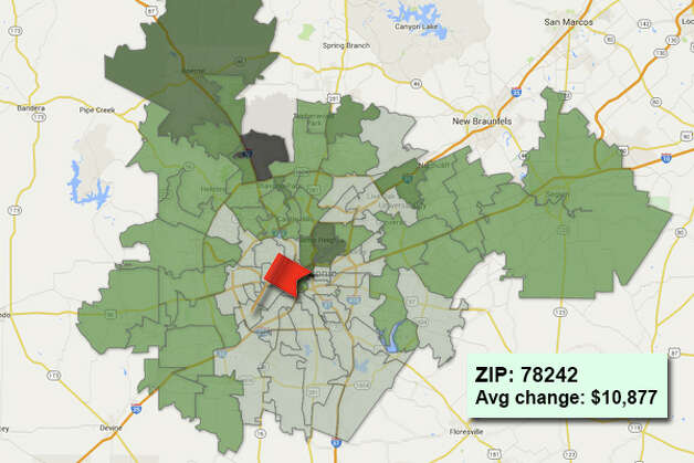 ZIP code: 78242Data available from the Bexar Appraisal District shows how much the average residential value changed in each area ZIP code in 2015. Photo: Chris Eudaily Created Using Fusion Tables