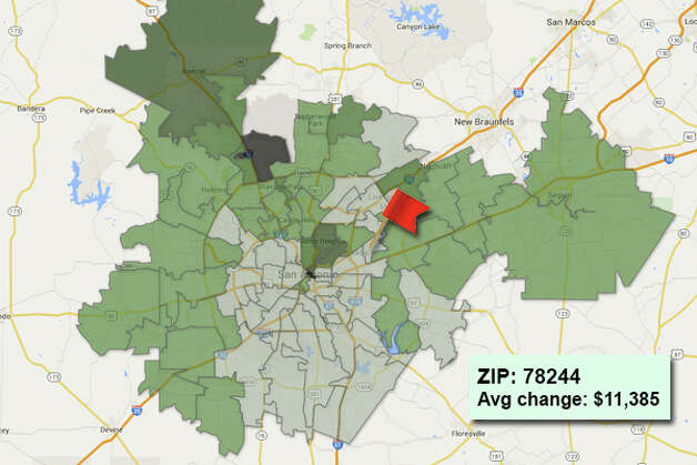 ZIP code: 78244Data available from the Bexar Appraisal District shows how much the average residential value changed in each area ZIP code in 2015. Photo: Chris Eudaily Created Using Fusion Tables