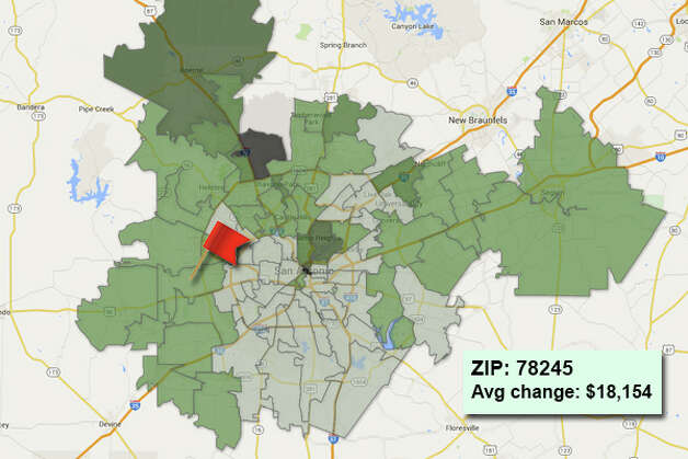 ZIP code: 78245Data available from the Bexar Appraisal District shows how much the average residential value changed in each area ZIP code in 2015. Photo: Chris Eudaily Created Using Fusion Tables