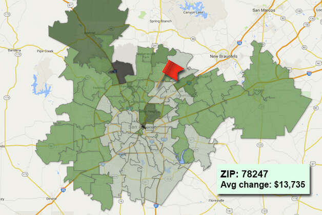 ZIP code: 78247Data available from the Bexar Appraisal District shows how much the average residential value changed in each area ZIP code in 2015. Photo: Chris Eudaily Created Using Fusion Tables