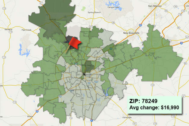 ZIP code: 78249Data available from the Bexar Appraisal District shows how much the average residential value changed in each area ZIP code in 2015. Photo: Chris Eudaily Created Using Fusion Tables