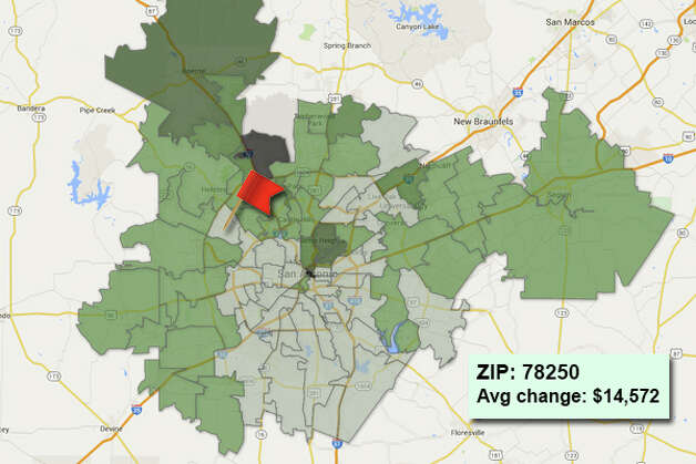 ZIP code: 78250Data available from the Bexar Appraisal District shows how much the average residential value changed in each area ZIP code in 2015. Photo: Chris Eudaily Created Using Fusion Tables