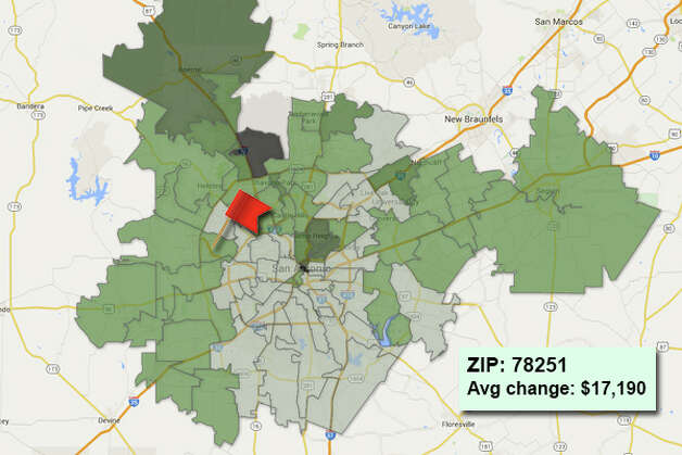 ZIP code: 78251 Data available from the Bexar Appraisal District shows how much the average residential value changed in each area ZIP code in 2015. Photo: Chris Eudaily Created Using Fusion Tables