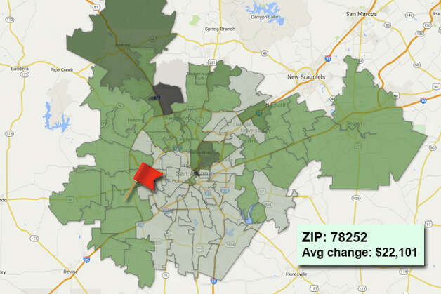 ZIP code: 78252 Data available from the Bexar Appraisal District shows how much the average residential value changed in each area ZIP code in 2015. Photo: Chris Eudaily Created Using Fusion Tables