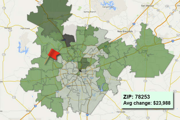 ZIP code: 78253 Data available from the Bexar Appraisal District shows how much the average residential value changed in each area ZIP code in 2015. Photo: Chris Eudaily Created Using Fusion Tables