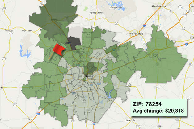 ZIP code: 78254 Data available from the Bexar Appraisal District shows how much the average residential value changed in each area ZIP code in 2015. Photo: Chris Eudaily Created Using Fusion Tables