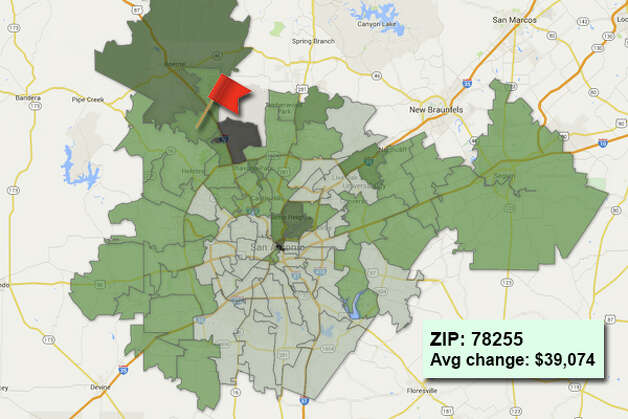 ZIP code: 78255 Data available from the Bexar Appraisal District shows how much the average residential value changed in each area ZIP code in 2015. Photo: Chris Eudaily Created Using Fusion Tables