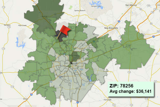 ZIP code: 78256 Data available from the Bexar Appraisal District shows how much the average residential value changed in each area ZIP code in 2015. Photo: Chris Eudaily Created Using Fusion Tables