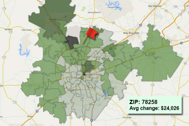 ZIP code: 78258 Data available from the Bexar Appraisal District shows how much the average residential value changed in each area ZIP code in 2015. Photo: Chris Eudaily Created Using Fusion Tables