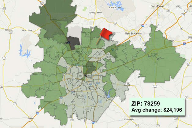 ZIP code: 78259 Data available from the Bexar Appraisal District shows how much the average residential value changed in each area ZIP code in 2015. Photo: Chris Eudaily Created Using Fusion Tables
