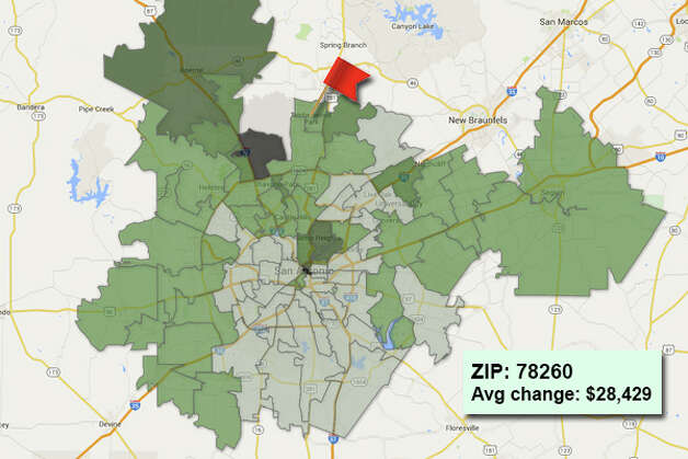 ZIP code: 78260 Data available from the Bexar Appraisal District shows how much the average residential value changed in each area ZIP code in 2015. Photo: Chris Eudaily Created Using Fusion Tables