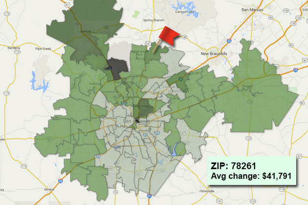 ZIP code: 78261 Data available from the Bexar Appraisal District shows how much the average residential value changed in each area ZIP code in 2015. Photo: Chris Eudaily Created Using Fusion Tables
