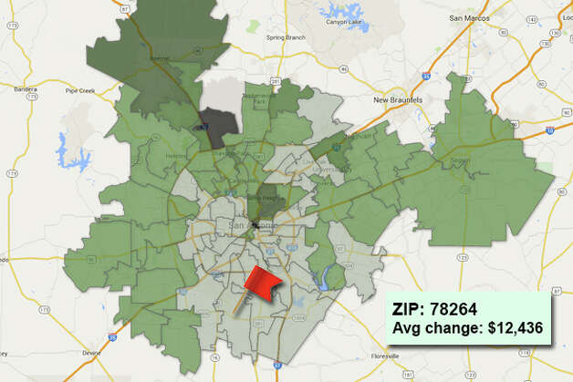 ZIP code: 78264 Data available from the Bexar Appraisal District shows how much the average residential value changed in each area ZIP code in 2015. Photo: Chris Eudaily Created Using Fusion Tables
