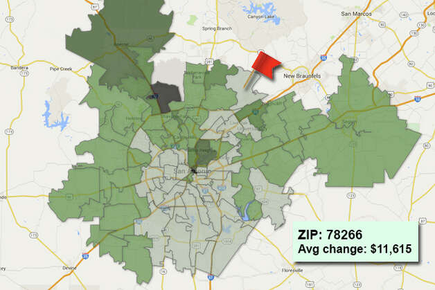 ZIP code: 78266 Data available from the Bexar Appraisal District shows how much the average residential value changed in each area ZIP code in 2015. Photo: Chris Eudaily Created Using Fusion Tables