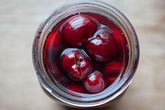 These are the Cardamom-Scented Brandied cherries photographed at Molly Watson's home in San Francisco Calif., Friday March 22, 2015.