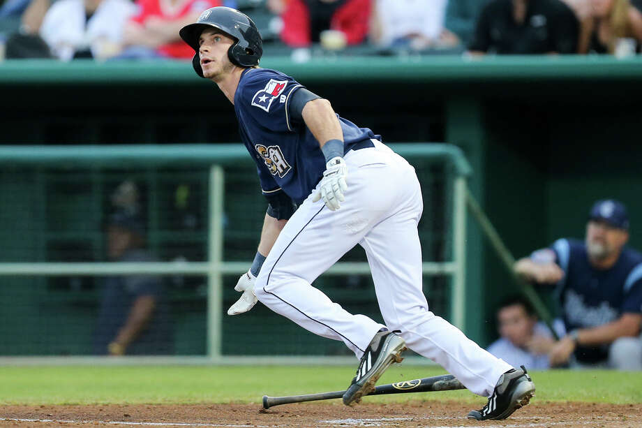 Missions center fielder Travis Jankowski tracks the ball while leaving the box during the third inning of their game with the Corpus Christi Hooks on Tuesday, May 12, 2015.  MARVIN PFEIFFER/ mpfeiffer@express-news.net Photo: Marvin Pfeiffer, Staff / San Antonio Express-News / Express-News 2015