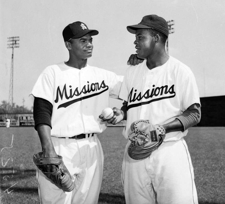 In 1953, the Missions' Harry Wilson (left, pitcher) and Charlie White (catcher) were the first black battery in the Texas League. Photo: Courtesy Photo / UTSA Special Collections / UTSA Special Collections