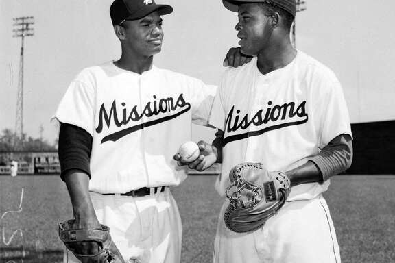 In 1953, the Missions' Harry Wilson (left, pitcher) and Charlie White (catcher) were the first black battery in the Texas League.