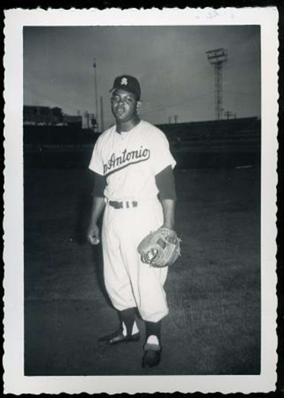 Charlie White of the Texas League's Missions poses at Mission Stadium in San Antonio in an early 1950s photo.