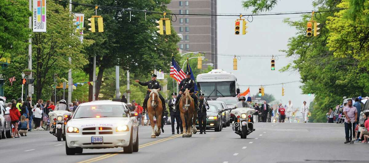 The Albany Police lead the parade down Central Ave. during the Albany Memorial Day Parade on Monday, May 25, 2015, in Albany, N.Y. (Paul Buckowski / Times Union)