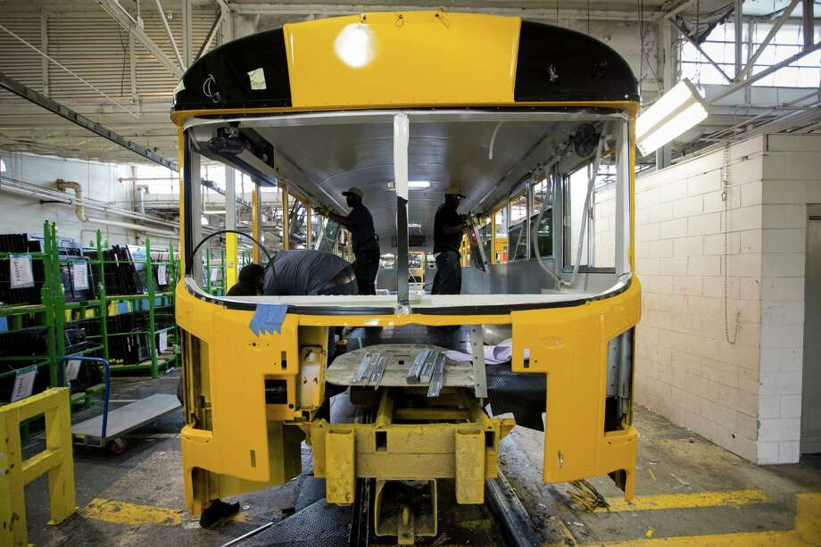 A bus is built at the Blue Bird assembly line at the manufacturing plant in Fort Valley, Ga. In a growing number of cities across the country, propane is what gets children to school. Photo: Kevin Liles /New York Times / NYTNS