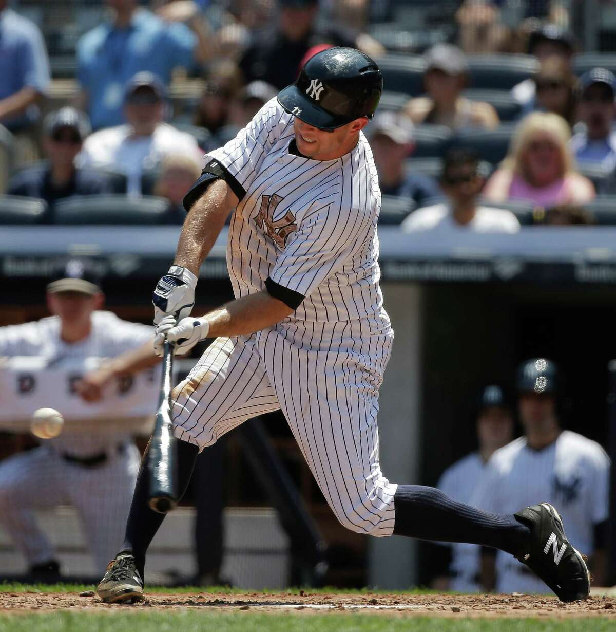 New York Yankees left fielder Brett Gardner (11) connects for a three-run home run against the Kansas City Royals during the first inning of a baseball game, Monday, May 25, 2015, in New York. (AP Photo/Julie Jacobson) ORG XMIT: NYY108