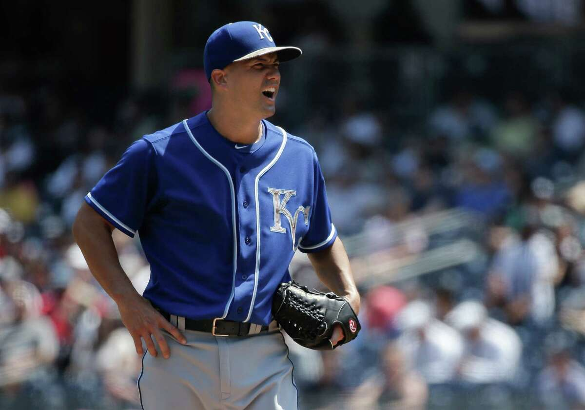 Kansas City Royals pitcher Jeremy Guthrie (11) reacts after giving up a three-run home run to New York Yankees' Brett Gardner during the first inning of a baseball game, Monday, May 25, 2015, in New York. (AP Photo/Julie Jacobson) ORG XMIT: NYY111