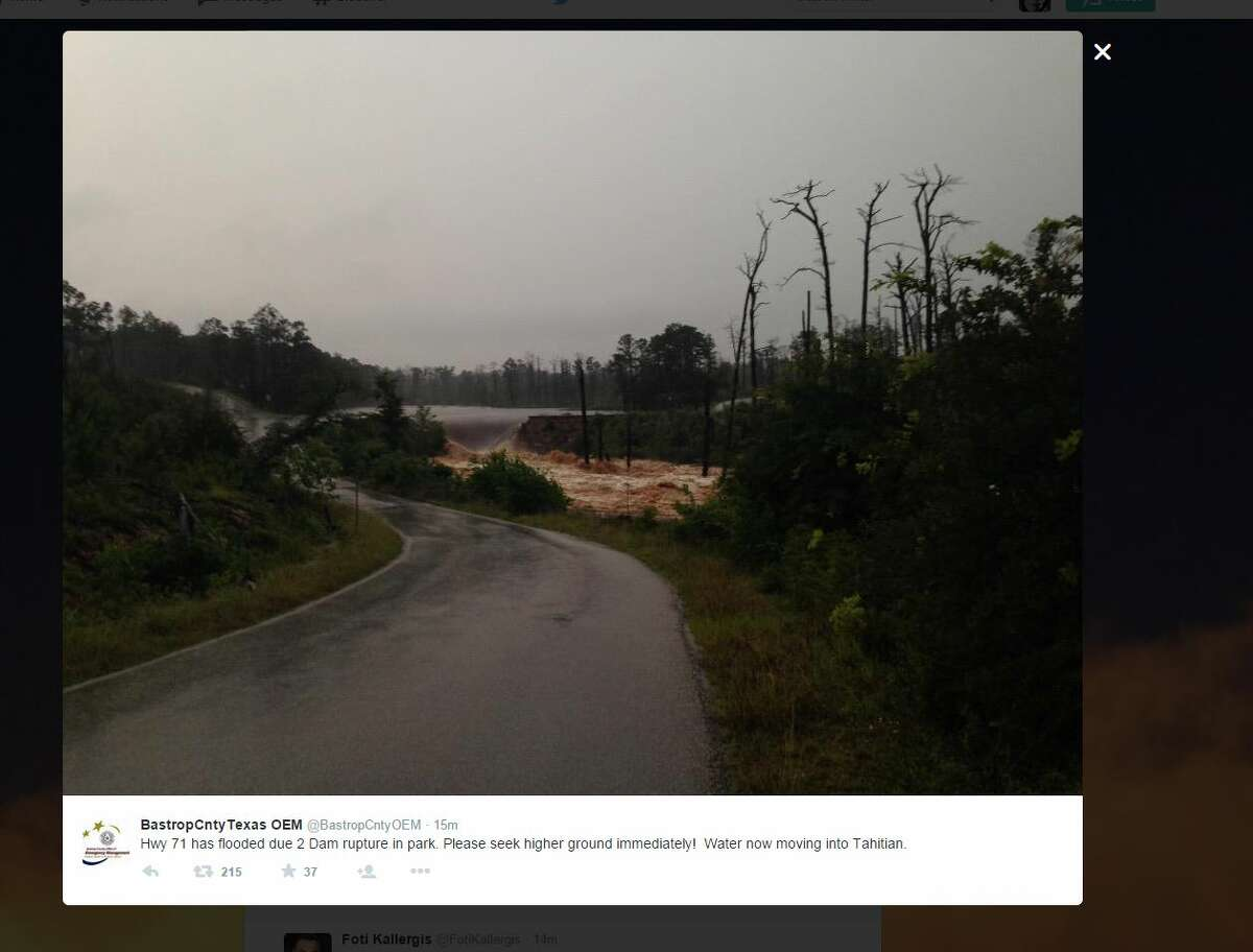 Bastrop County Office of Emergency Management tweeted Monday May 25, that a dam ruptured on the small lake in Bastrop State Park and that residents of east Tahitian needed to seek higher ground.